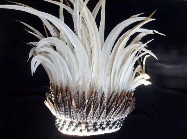 Tribal White Feather Headdress With Cut Shell and Seeds Adornment Papua Hat Art #papuan