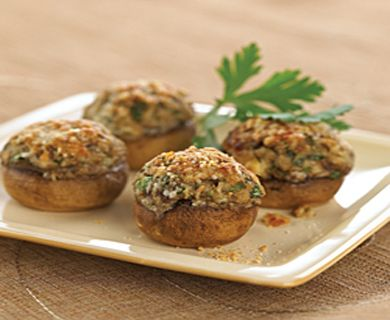 Stuffed Mushrooms with Tre Stelle® Ricotta Cheese, Castello® Traditional Blue Cheese, and Tre Stelle® Grated Parmesan Cheese #recipe #sidedish #ricotta
