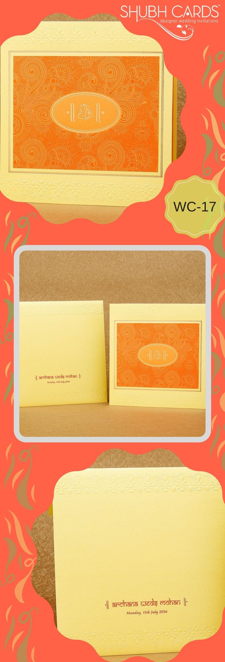 A charming #weddinginvite in yellow with an orange panel full of ornate floral designs. In the centre of the orange panel is an oval design with a Ganesha in Gold.  The cover and the inserts have borders of floral pattern in embossed print. The intricately laid out designs in this #ClassicCard is indeed breathtaking.  #ClassicWeddingCard #Classic #DesignerInvite #DesignerInvitation #ShubhCards