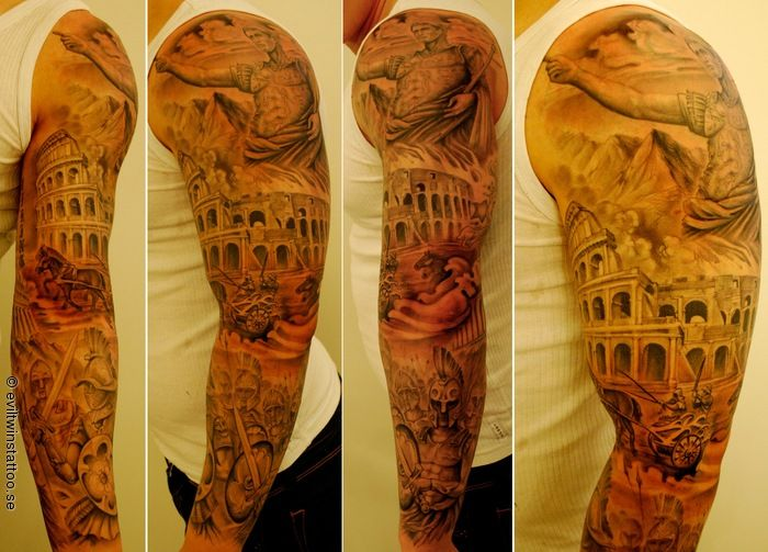 Awesome full tattoo sleeve with Gaius Julis Caesar, The Colosseum, Gladiators, Legionnaires and chariots.