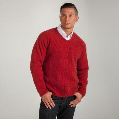 Koru Merino Wool and Possum Fur V-neck Cable Sweater