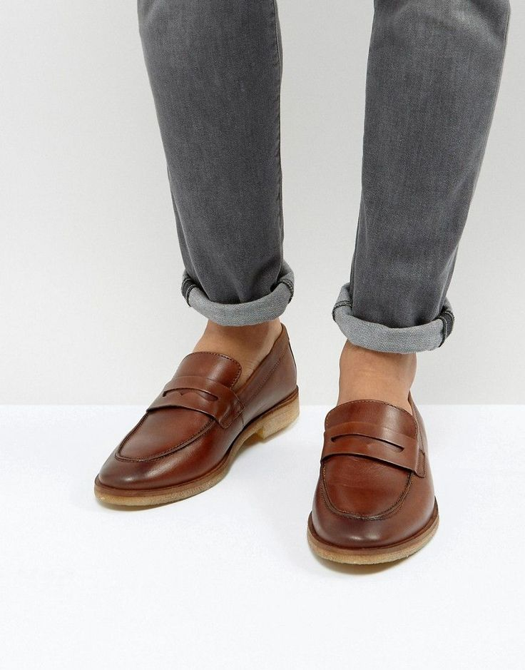 ASOS Loafers In Tan Leather With Gum Sole - Tan