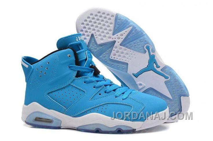 http://www.jordanaj.com/air-jordan-retro-6-blue-white-basketball-shoes-sale-online-237053.html AIR JORDAN RETRO 6 BLUE WHITE BASKETBALL SHOES SALE ONLINE 237053 Only $73.00 , Free Shipping!