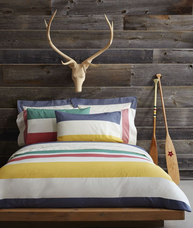 Summer Essentials | Multi Stripe Percale Bedding and Canoe Paddles #hbccollections #multistripe #cottagelife