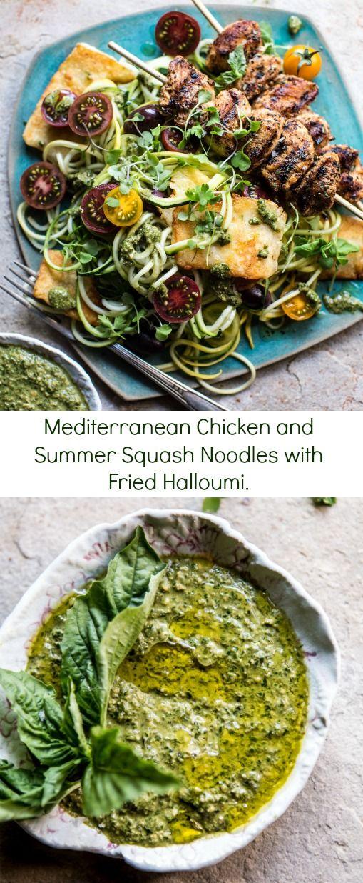 Mediterranean Chicken and Summer Squash Noodles with Fried Halloumi   halfbakedharvest.com @hbharvest