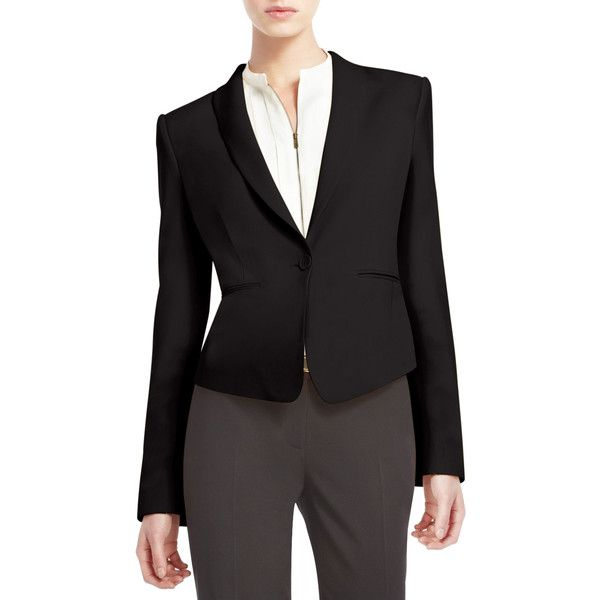 BCBGMAXAZRIA Bowie Single-Breasted Blazer ($99) ❤ liked on Polyvore featuring outerwear, jackets, blazers, black, single breasted jacket, single breasted blazer, bcbgmaxazria, short-sleeve blazers and blazer jacket