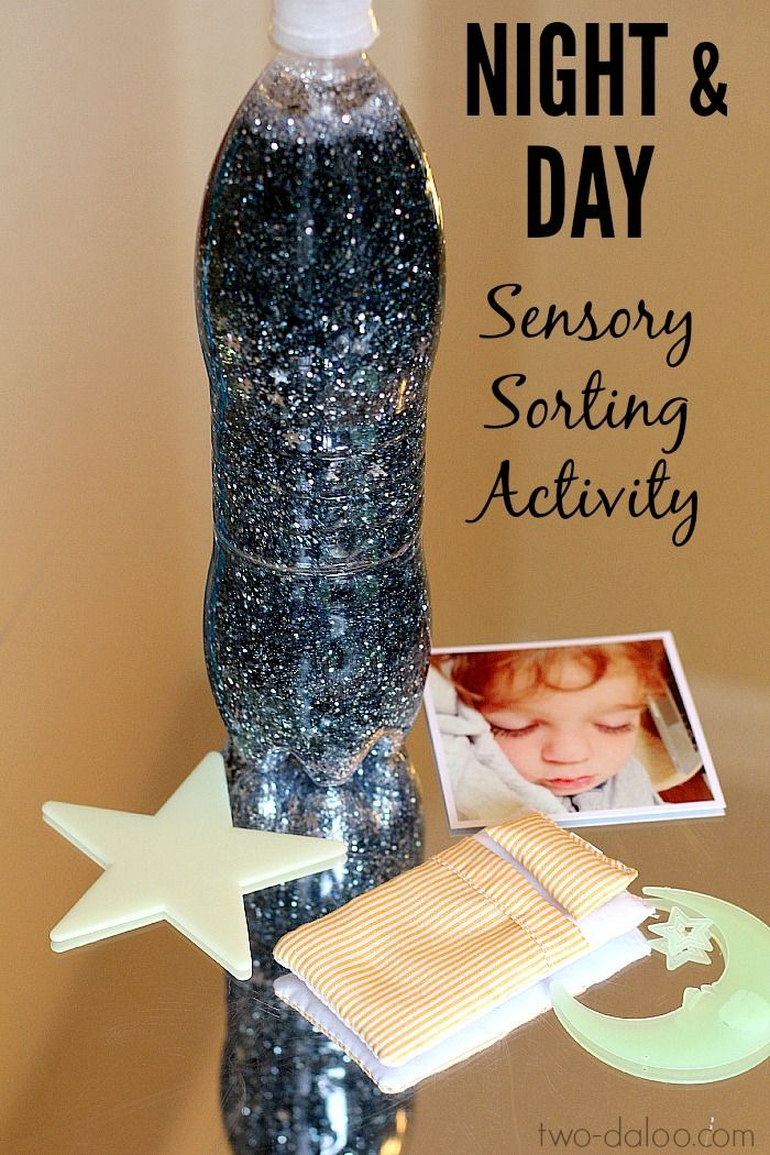 Night Sky Activities for Preschool: Night and Day Sensory Sorting - Twodaloo
