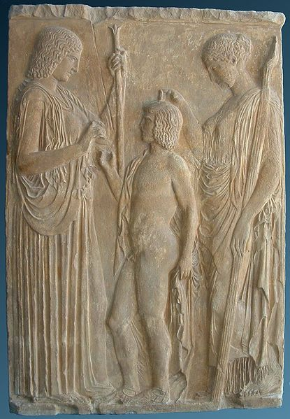The Eleusinian trio: Persephone, Triptolemus and Demeter on a marble bas-relief from Eleusis, 440-430 BC. National Archaeological Museum of Athens