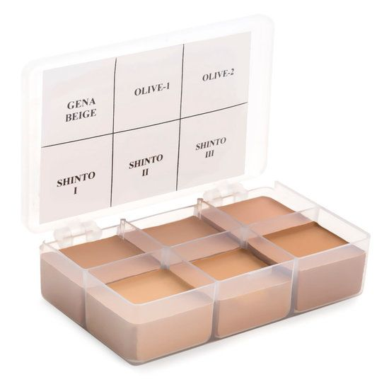 RCMA Makeup 6 Part Palettes are perfect for the pros. Palette #5 includes the shades Gena Beige, Olive-1, Olive-2, SH-1 Shinto I, SH-2 Shinto II, and SH-3 Shinto III. There is  3/4 oz of each Color Process Foundation shade. RCMA Color Process Shades offer a high degree of coverage on the skin, without the need to use too much. So a little, goes a long way!  RCMA foundations do not contain perfumes, animal extracts, mineral oils, or lanolin.