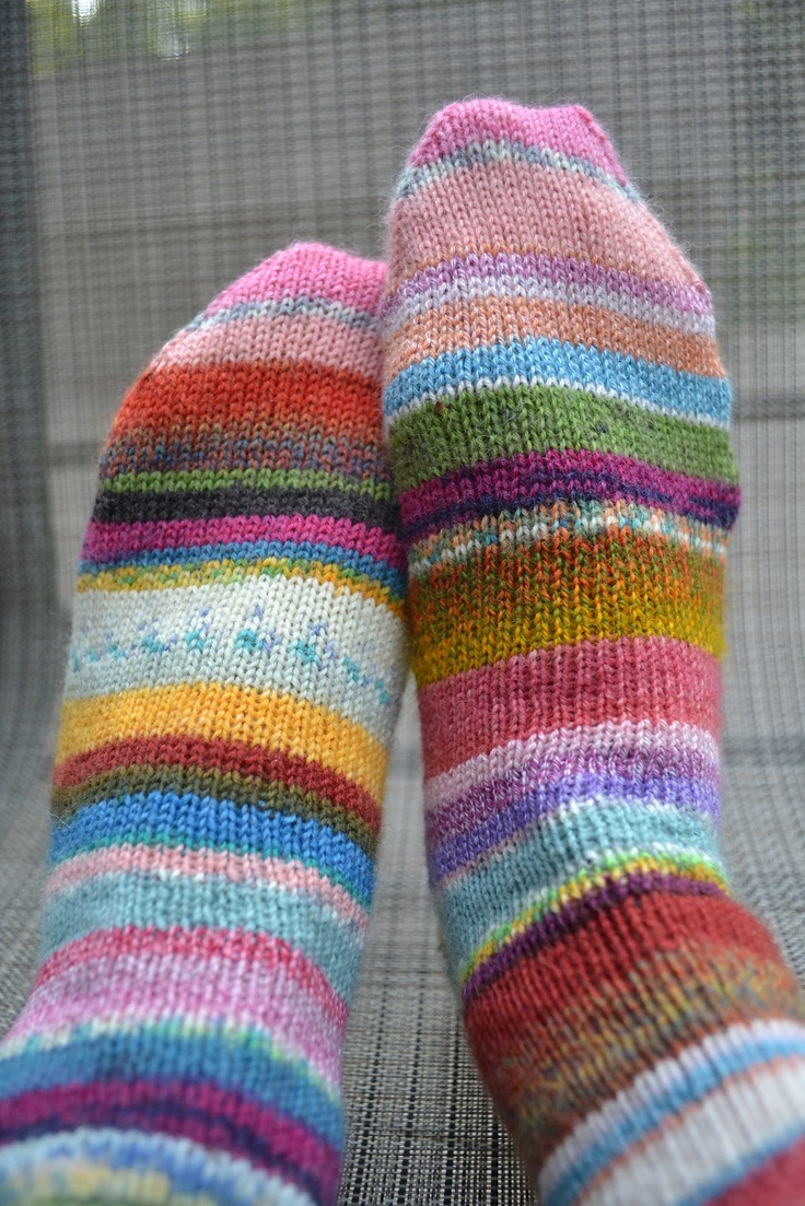 Susan B. Anderson: Patchwork Progress more leftover sock yarn socks