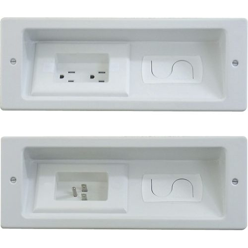 In wall outlet and cable organization for flat screen TV's