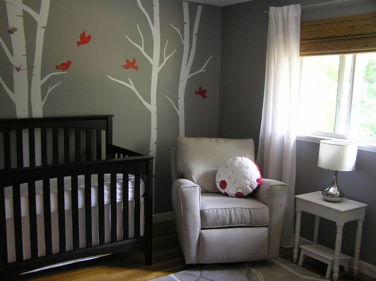 gray baby room - birch tree wall decals with orange birds. Love it! would make awesome decor for any room! loving gray on baby rooms for gender neutral.