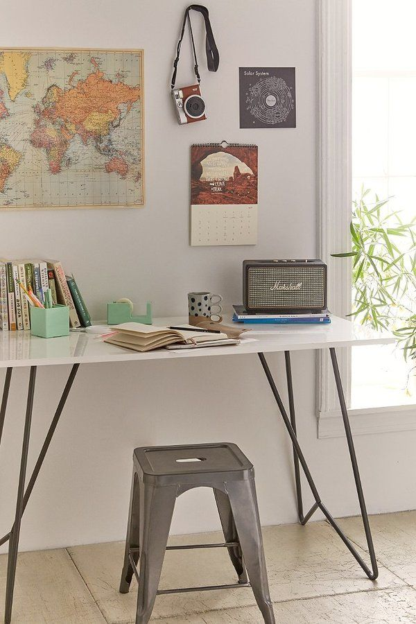 Metal Tubing Desk is the basis of this home office station which can be positioned in the living area for the family or in a teens room for their desk.   A really flexible solution for all of the family's home office requirements.