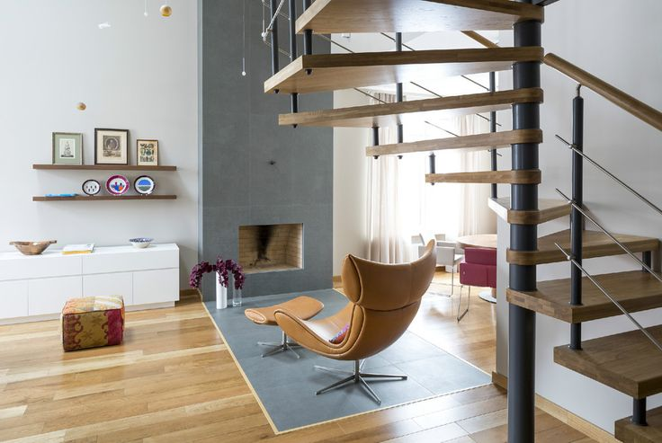 Apartments: Yarovikova Anna Classic Shelving Natural Wood Round Dining Table Rosy Dining Arm Chair Beautiful Bouquets Flowers And Beige Sofa Chair Traditional Fireplace Modern Spiral Staircase: 2 Modern Small Apartments Use Bursts Colors