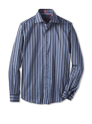 Report Collection Men's Long Sleeve Blue Stripe Shirt