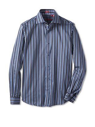 Report Collection Men's Long Sleeve Blue Stripe Shirt