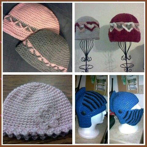 Various crochet beanies