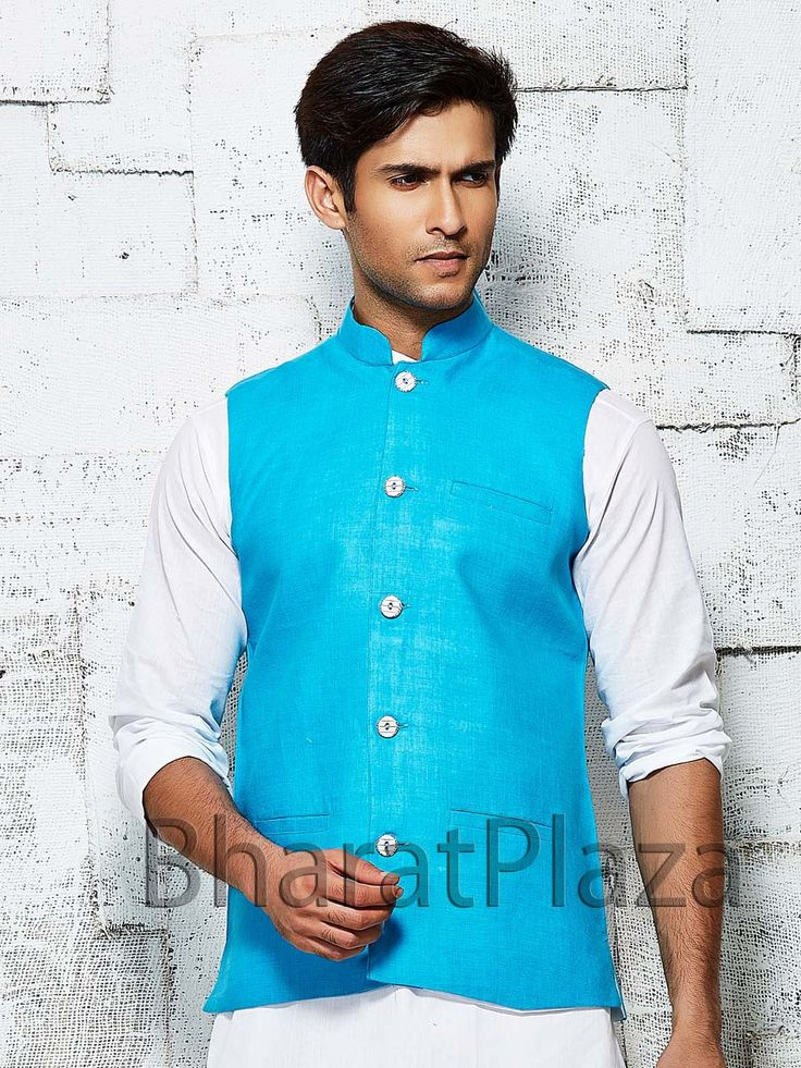 Delightful firozi color linen nehru jacket with high neck collar. Item Code: NJI5001F