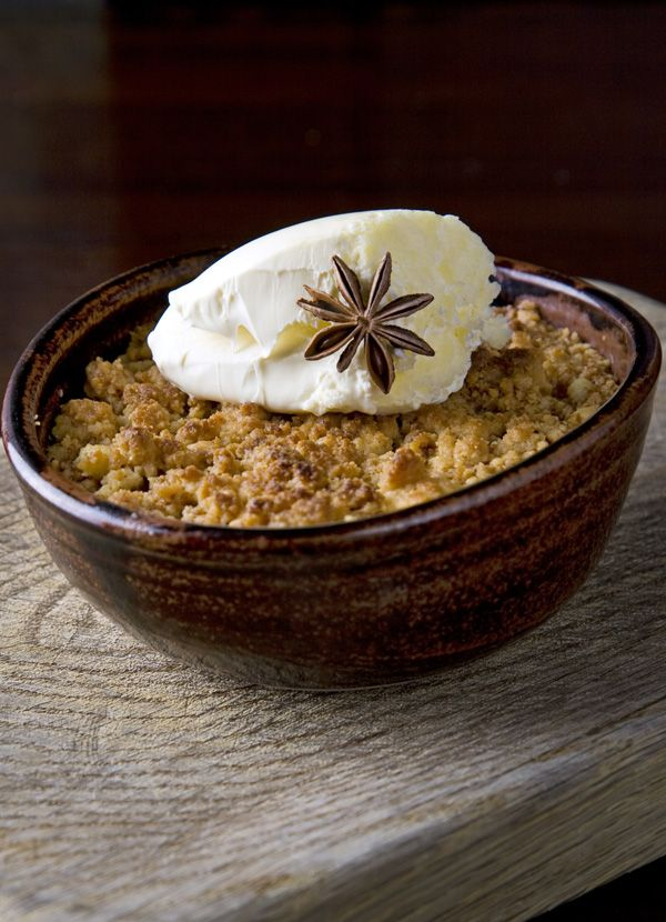 Rhubarb and ginger crumble: This recipe takes a classic rhubarb crumble and gives it a twist with the addition of ginger and star anise to the fruit and a crunchy brown sugar topping. Serve with cream.
