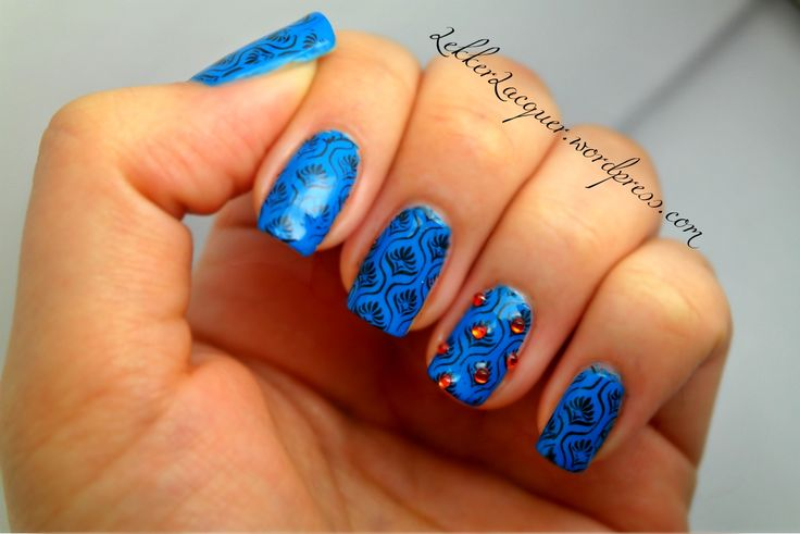 Lumo blue and Konad stamp