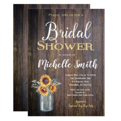 Sunflower Rustic Bridal Shower Invitation Rustic Card - floral bridal shower gifts wedding bride party