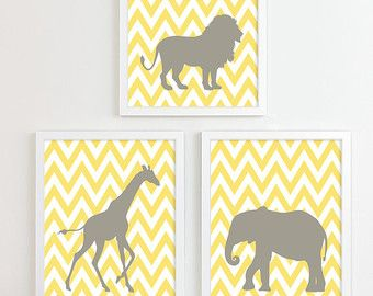 Gelb grau grau Chevron Dschungel Kinderzimmer Kunstdruck Geschlecht Neutral gelb Kinderzimmer Decor Safari tierische Kinderzimmer Wand Kunst Zoo Giraffe Elefant