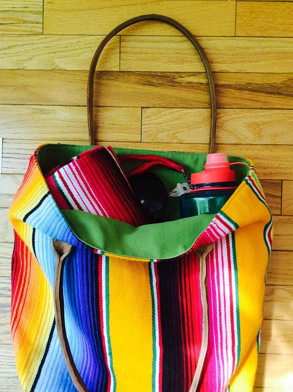 Mexican blanket beach bag