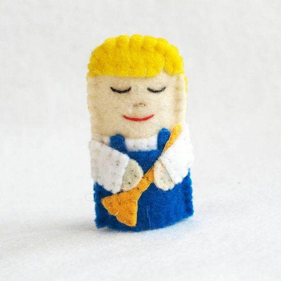 Little boy blue felt finger puppet felt finger by KRFingerPuppets