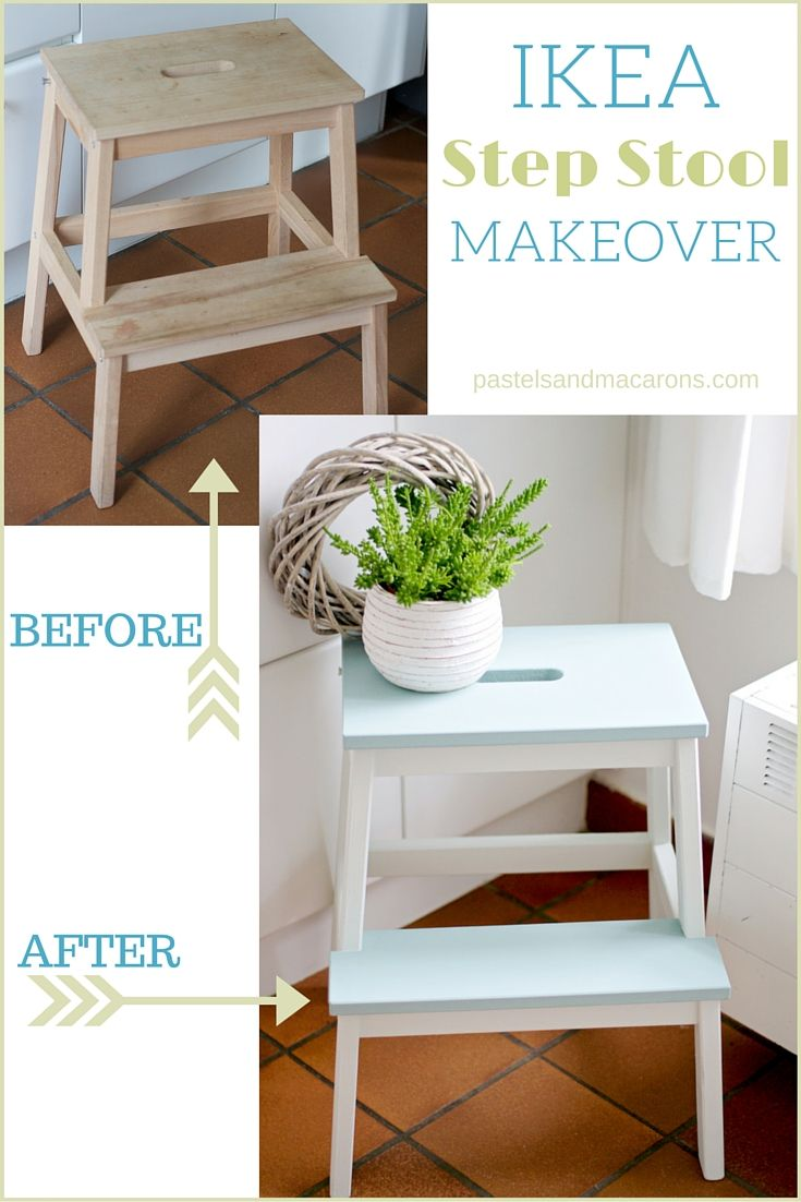 IKEA Step Stool Makeover by Pastels & Macarons. Easy to follow tutorial to convert a plain step stool into a fabulous feature in any room.