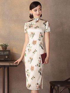 Champagne Floral Mulberry Silk Chinese Qipao / Cheongsam Dress - CozyLadyWear