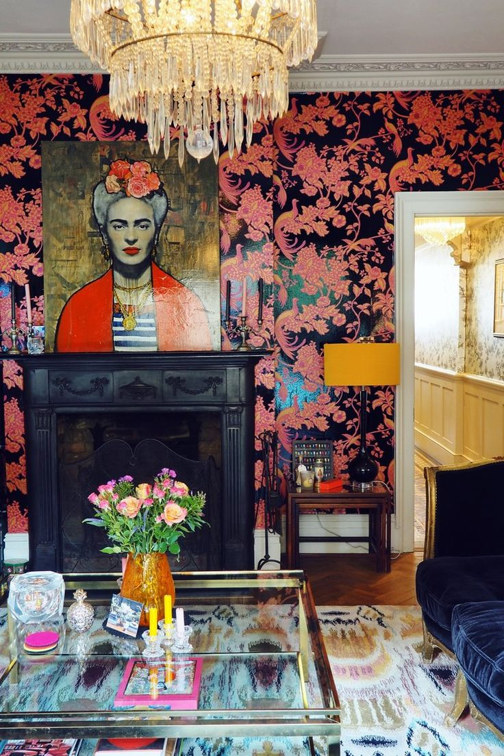 Statement wallpaper and major eclectic interior design going on in this South London home. See more from this home by clicking through!
