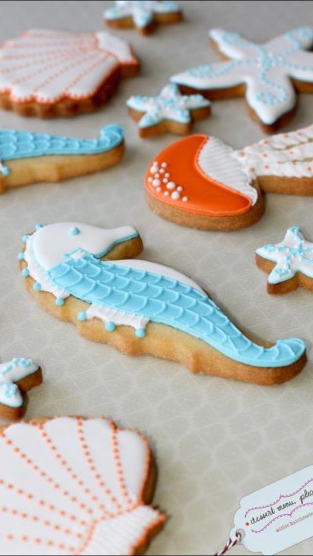 Sea themed cookies for mermaid party