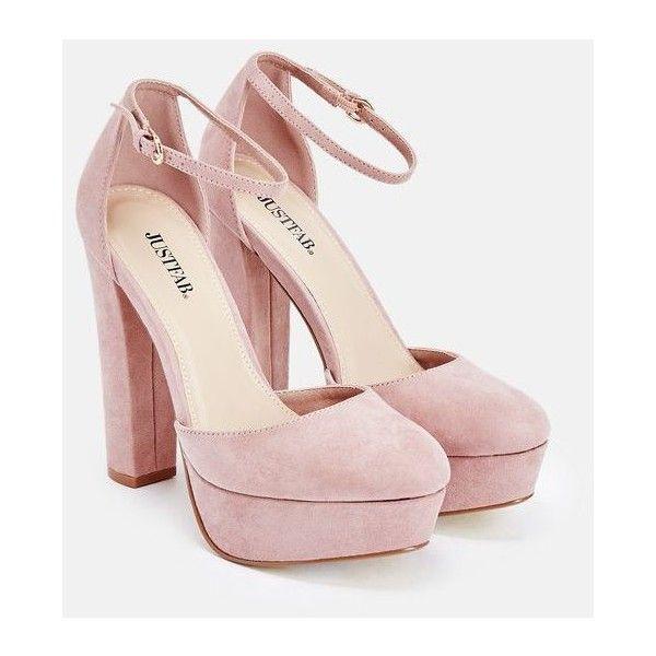Justfab Pumps Jayla ($40) ❤ liked on Polyvore featuring shoes, pumps, pink, platform pumps, pink pumps, ankle strap high heel pumps, ankle strap pumps and pink shoes