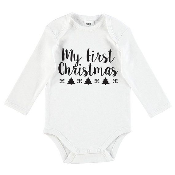 My First Christmas Baby Funny Onesie by TheUniqueCo on Etsy