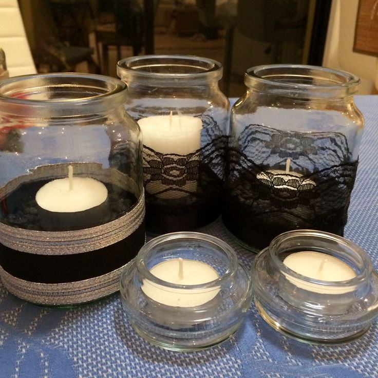 Use the lids too for tea light candles!