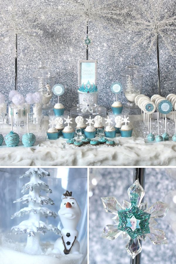 "Frozen Party {Sweets Table} - love the snowflakes & colors, doesn't necessarily have to have the ""Frozen"" theme"