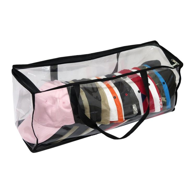 Evelots® Large Clear Baseball Cap Storage Bag With Zipper and Black Handles