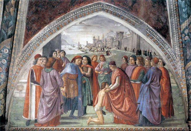 DOMENICO, il GHIRLANDAIO - Rinuncia degli averi  - affresco - 1482-85 ca. - parete sinistra - Cappella Sassetti - Basilica di Santa Trinità - Firenze