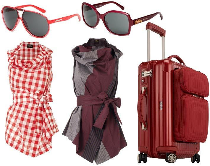 fig. from above, left: Sunglasses by Dolce & Gabbana 2013; wrap-around blouses from Vivienne Westwood's 'Anglomania' SS2013 collection; 'Salsa Deluxe Hybrid' luggage in oriental-red by Rimowa.