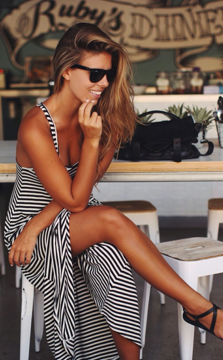 Black or navy and white striped maxi dress
