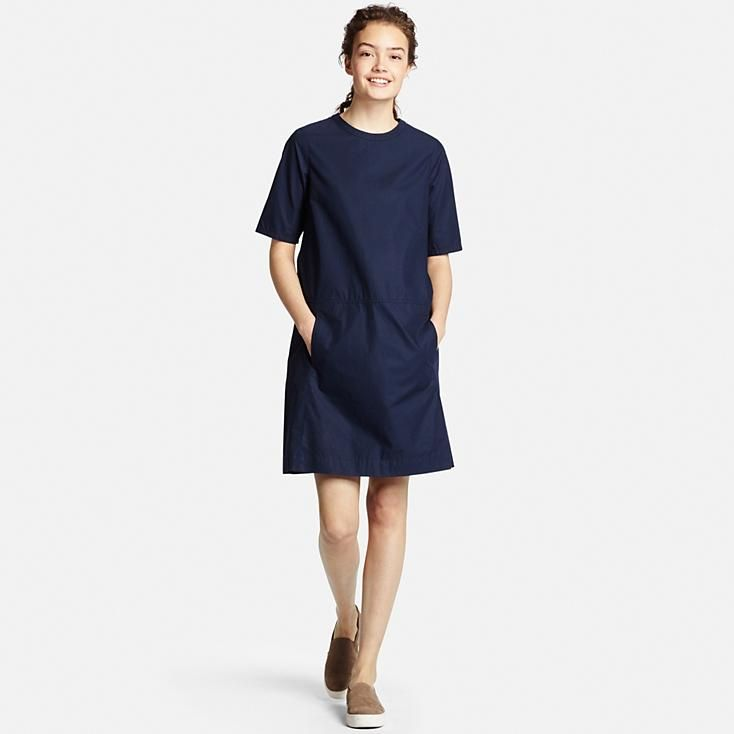 WOMEN CRISP COTTON SHORT SLEEVE DRESS | UNIQLO