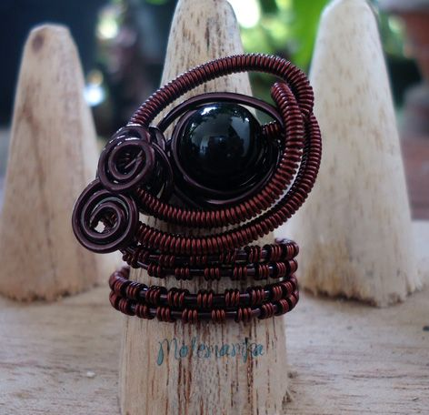adjustable ring copper wire, black onyx stone SOLD