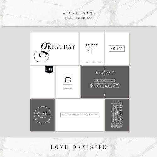 WHITE COLLECTION | THEME PACK | DAILIES, $4.00
