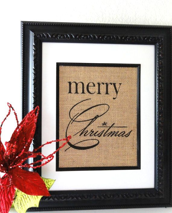 Merry Christmas Burlap Print or Sign- Holiday Decor- Great Hostess or Christmas Gift- on Etsy, $20.00
