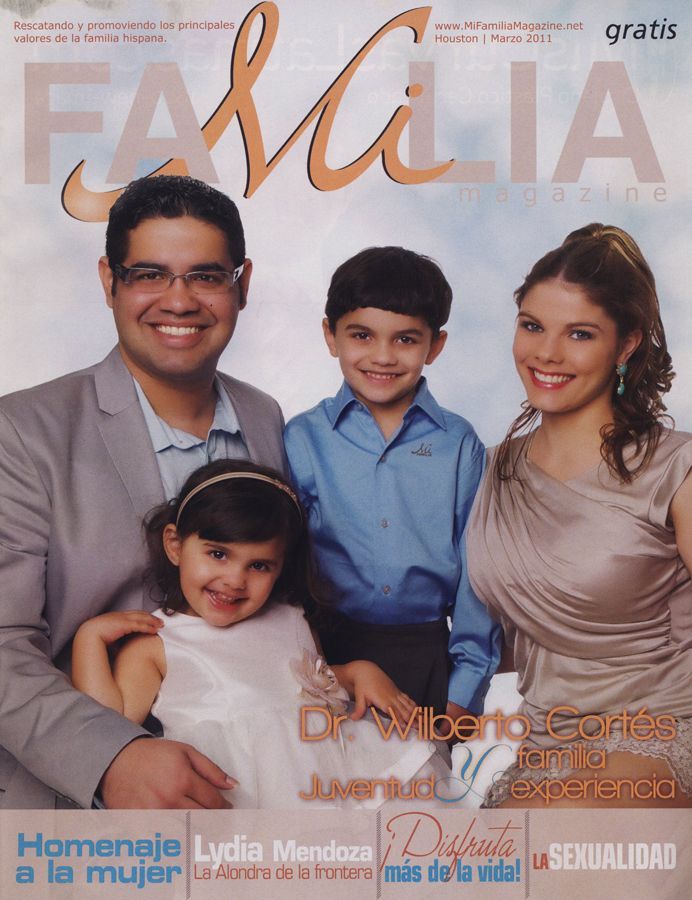 Dr. Wilberto Cortes and family in the cover page of Familia Magazine