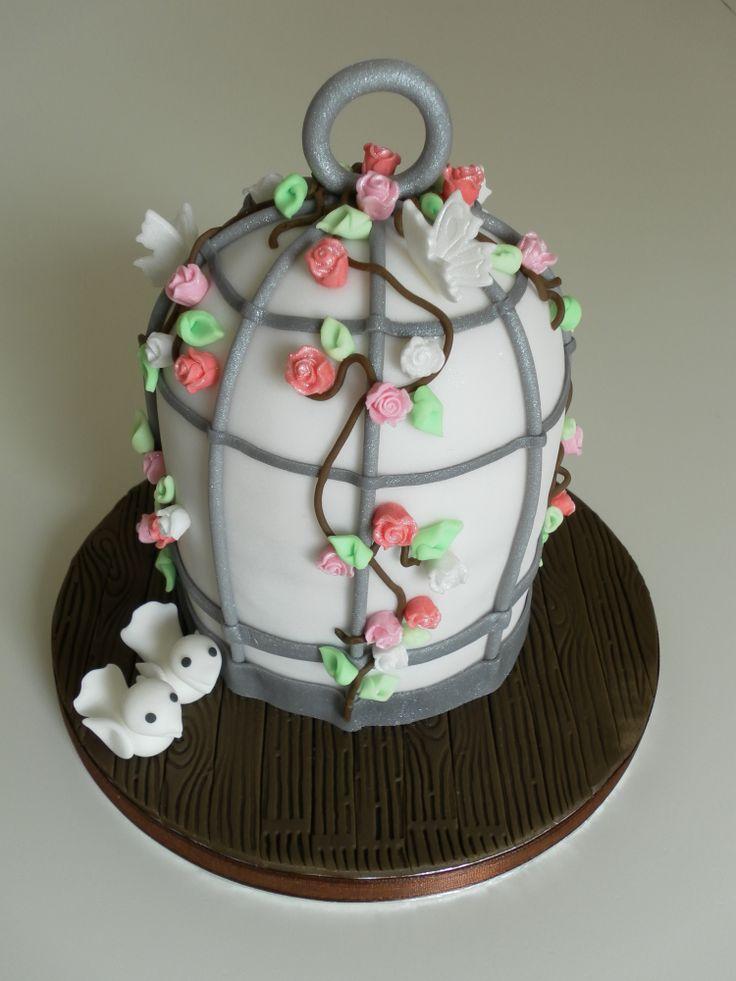 Vogelkooi taart / Birdcage cake  www.biancahobbyhoek.nl