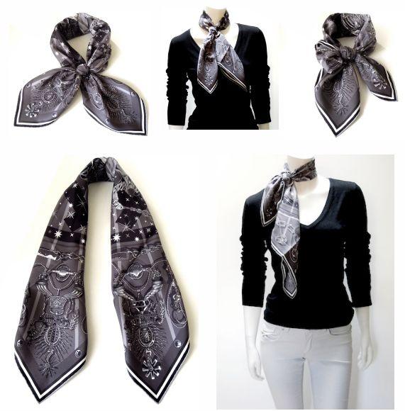 Hermès scarf 'C'est la fête' in different folds and knots