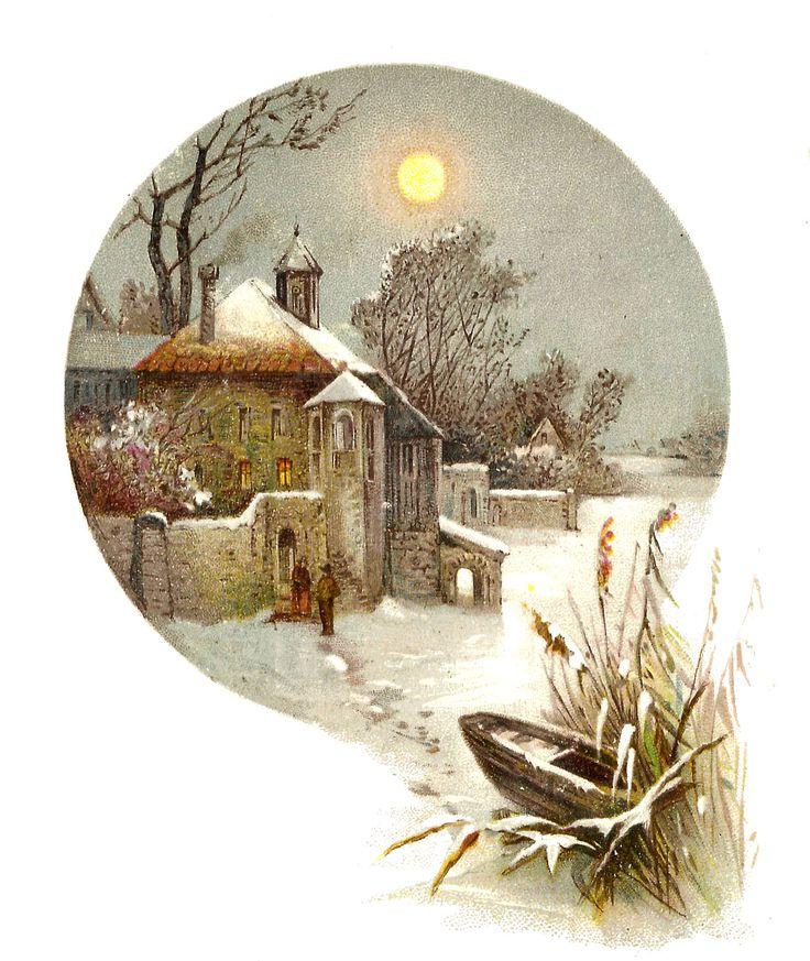 настоящее винтажные картинки зима внимание