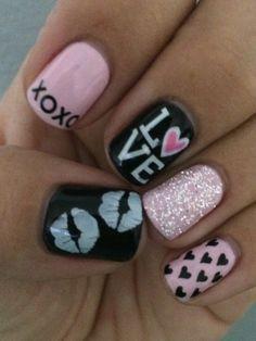 Fun Valentine Nails #gelnails #nailart #valtentinenails click.to.see.more.eldressico.com
