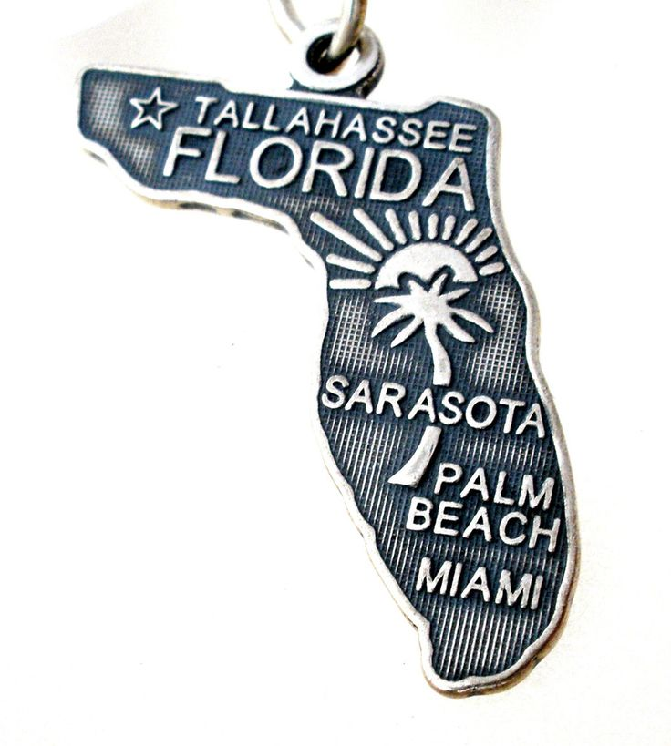 Charms for Bracelets - This is a new sterling silver state of Florida Charm. It is hallmarked 925 with makers mark. This charm measures .88 ich by .63 inch, weighs 1.6 grams and is in excellent condit